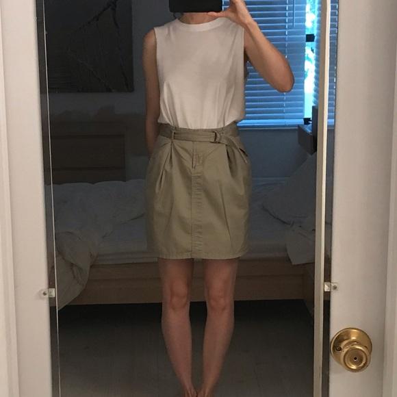 eafb87976d Uniqlo Skirts | Tan Khaki Cotton Tulip Mini Belted Skirt 2 | Poshmark